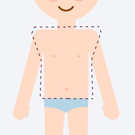 わき ・ 肩 ・ 背中 ・ 胸元全体 ・ 腹部全体